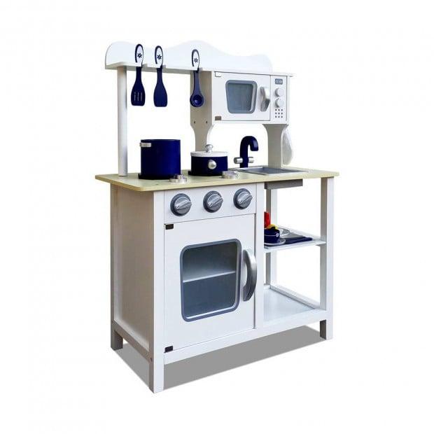 18 Piece Kitchen Play Set – White & Blue