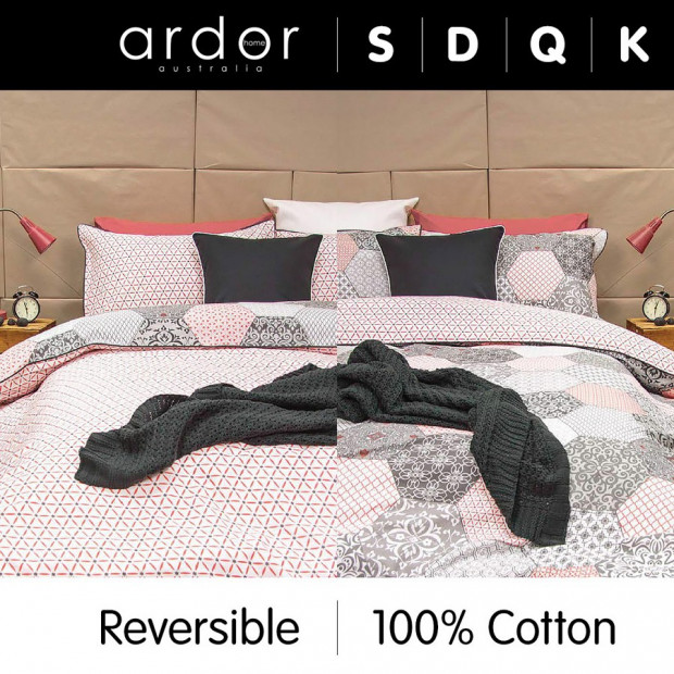 Madden Coral - Reversible Quilt Cover Set 100% Cotton