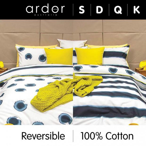 Mizu - Indigo Reversible Quilt Cover Set 100% Cotton