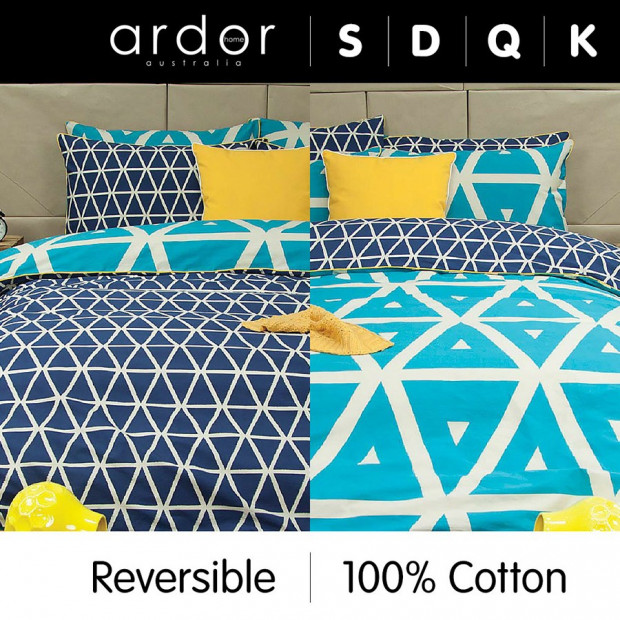 Cronombie Teal - Reversible Quilt Cover Set 100% Cotton