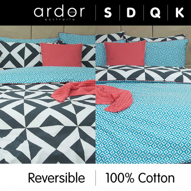 Nyallo - Charcoal Reversible Quilt Cover Set 100% Cotton