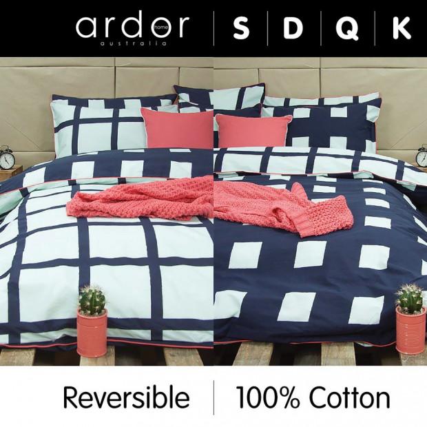 Tempy Navy - Reversible Quilt Cover Set 100% Cotton