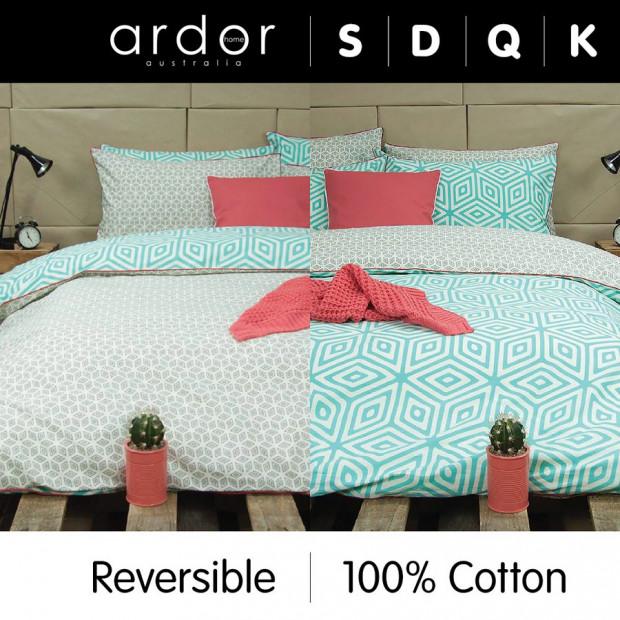 Wathe Aqua - Reversible Quilt Cover Set 100% Cotton