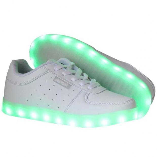 Kids LED Flash Shoes Low White