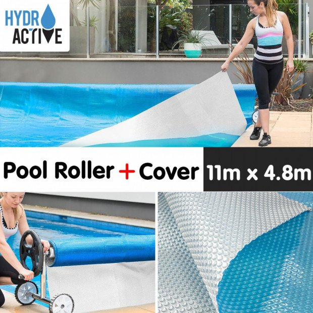 400micron Swimming Pool Roller Cover Combo - Silver/Blue - 11m x 4.8m