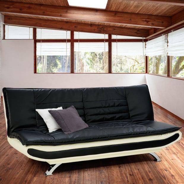 Sarantino Faux Leather 3 Seater Sofa Couch Lounge - Dual Colour