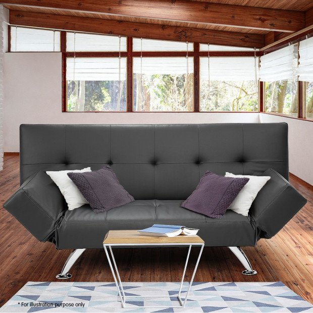 Sarantino 3 Seater Faux Leather Sofa Bed Lounge - Grey