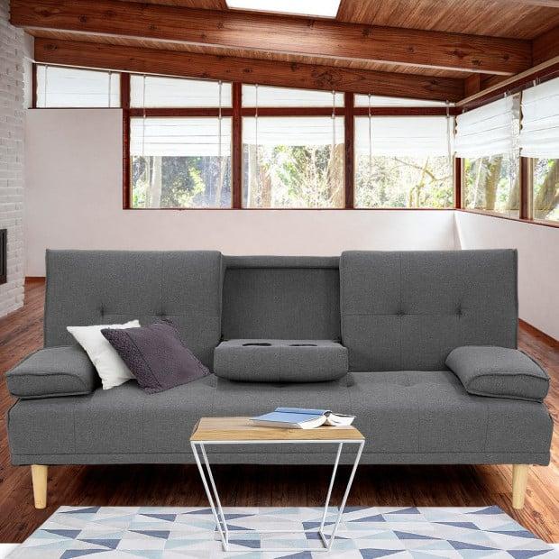 Sarantino Linen Fabric Sofa Bed Lounge Couch - Dark Grey