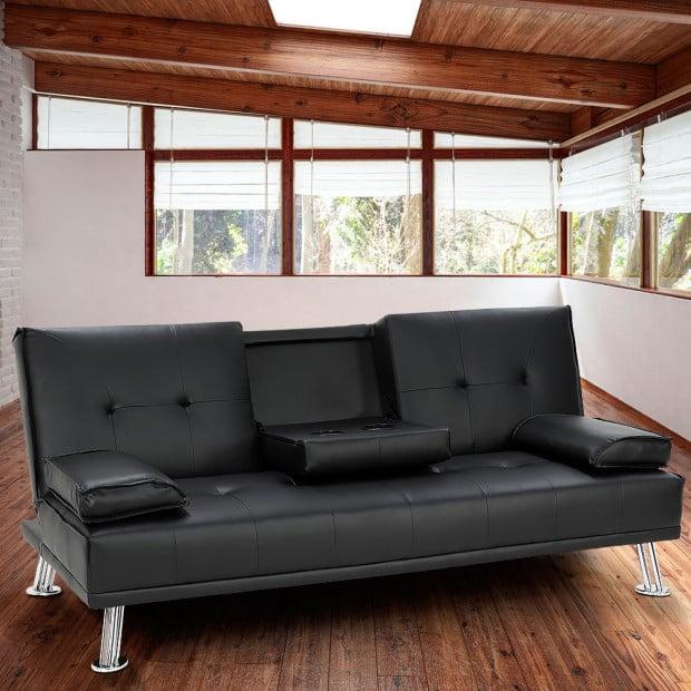 Sarantino Faux Leather Sofa Bed Lounge - Black