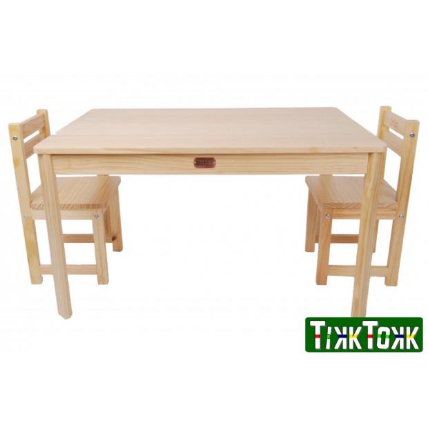TikkTokk Little BOSS Table & Chairs Set - Rectangular Natural