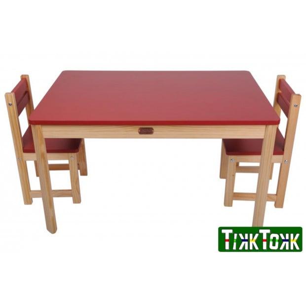 TikkTokk Little BOSS Table & Chairs Set - Rectangular Red