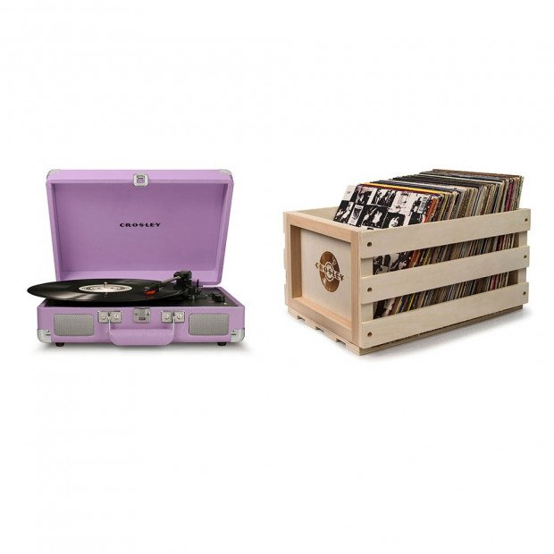 Crosley Cruiser Portable Turntable - Lavender with Storage Crate