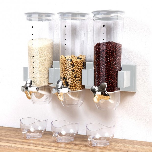 Wall Mounted Triple Cereal Dispenser Image 1