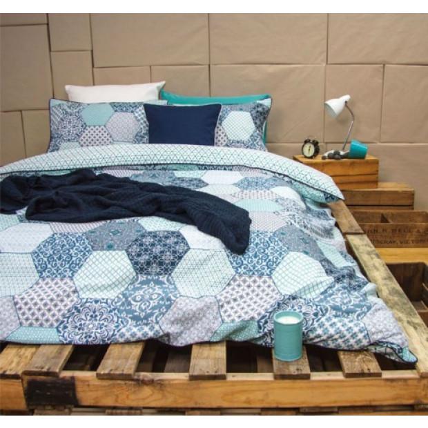 Madden Blue - Reversible Quilt Cover Set 100% Cotton