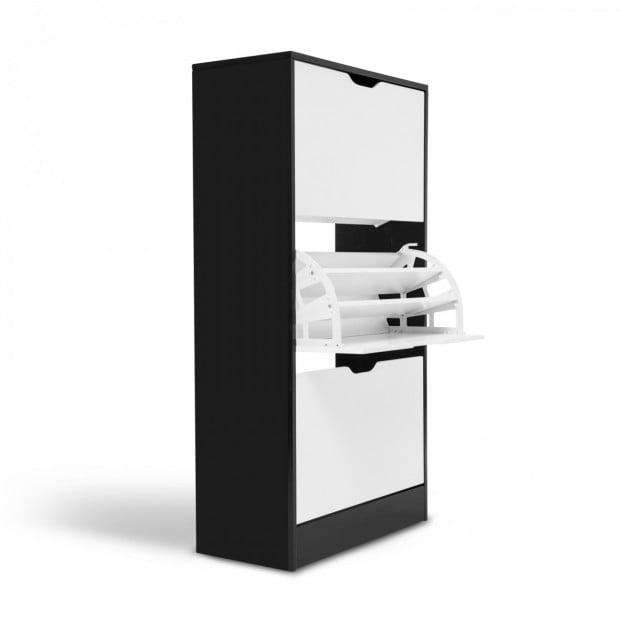 3 Drawer Wooden Shoe Cabinet Black & White