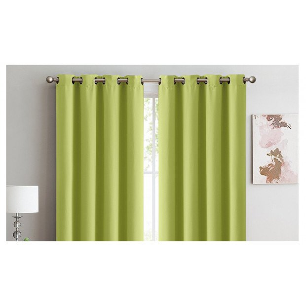 2x 100% Blockout Curtains Panels 3 Layers Eyelet Avocado 300x230cm