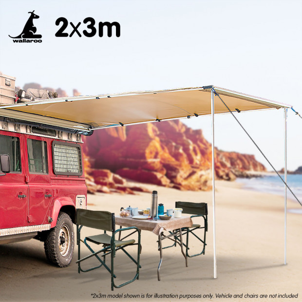 Wallaroo 2m x 3m Car Side Awning Roof Top Tent - Sand