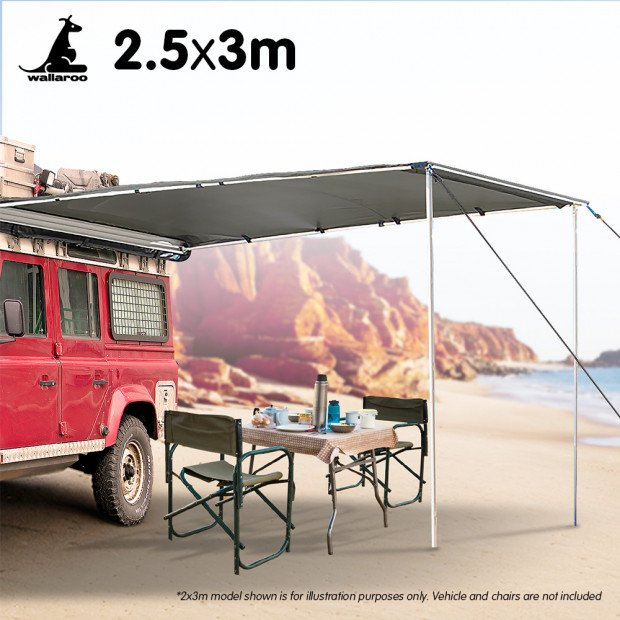 Wallaroo 3m x 2.5m Car Side Awning Roof Top Tent - Grey