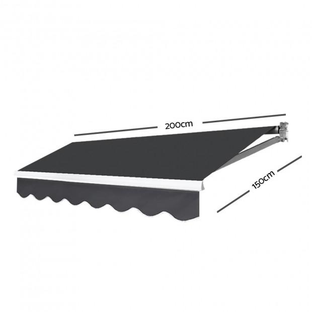 Instahut Motorised 2x1.5m Folding Arm Awning - Grey Image 1