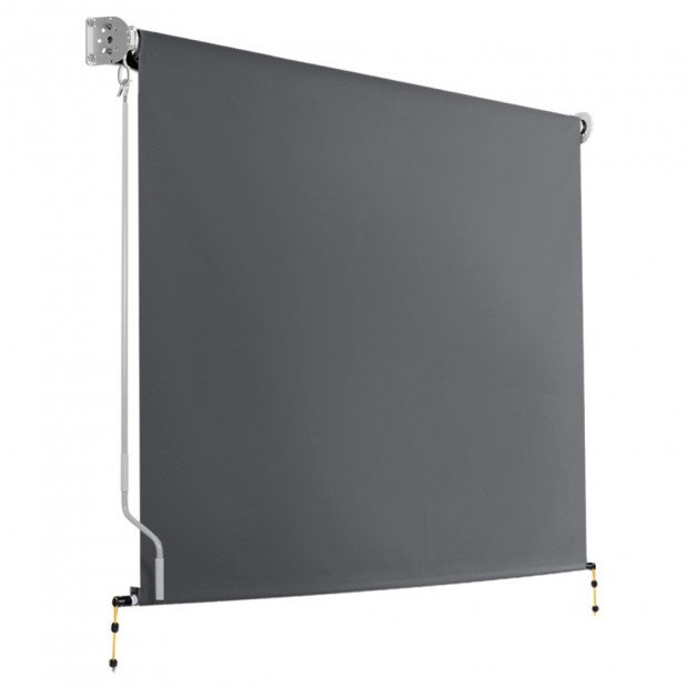 1.8m x 2.5m Retractable Roll Down Awning - Grey