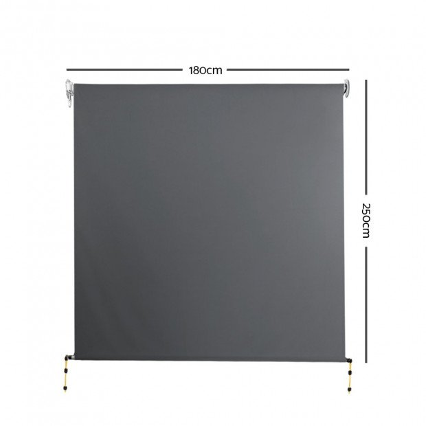 1.8m x 2.5m Retractable Roll Down Awning - Grey Image 2