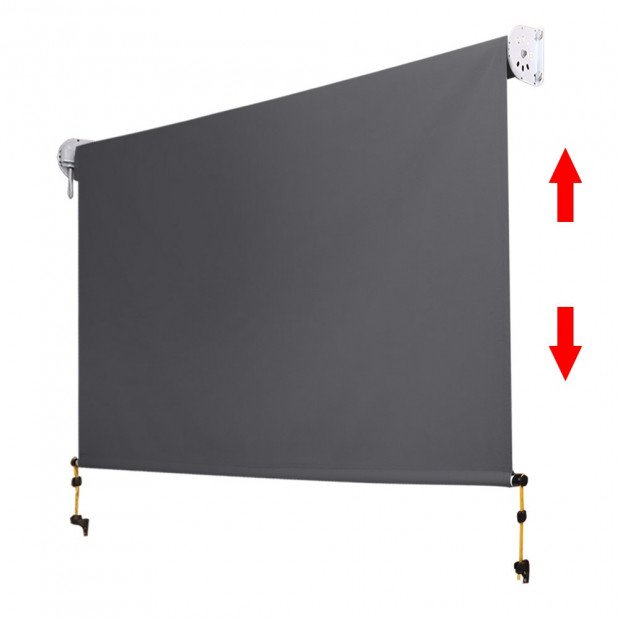 1.8m x 2.5m Retractable Roll Down Awning - Grey Image 3