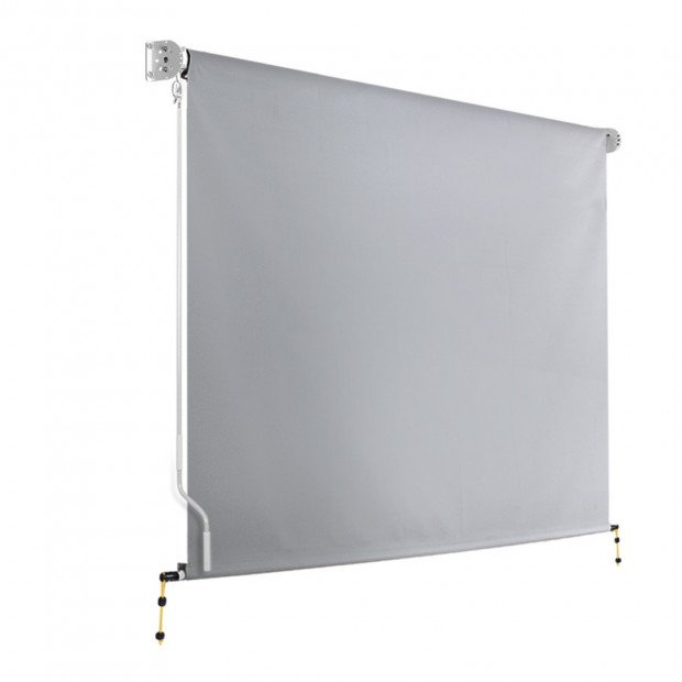 3m x 2.5m Retractable Straight Drop Roll Down Awning - Grey