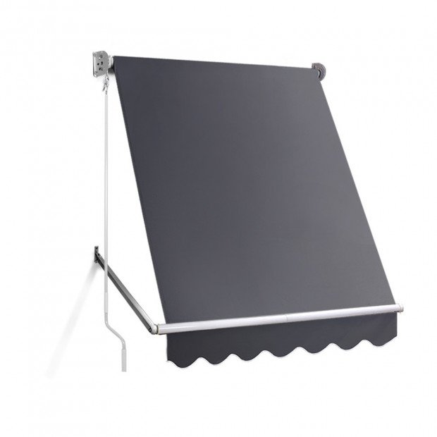 1.5m x 2.1m Retractable Fixed Pivot Arm Awning - Grey Image 1
