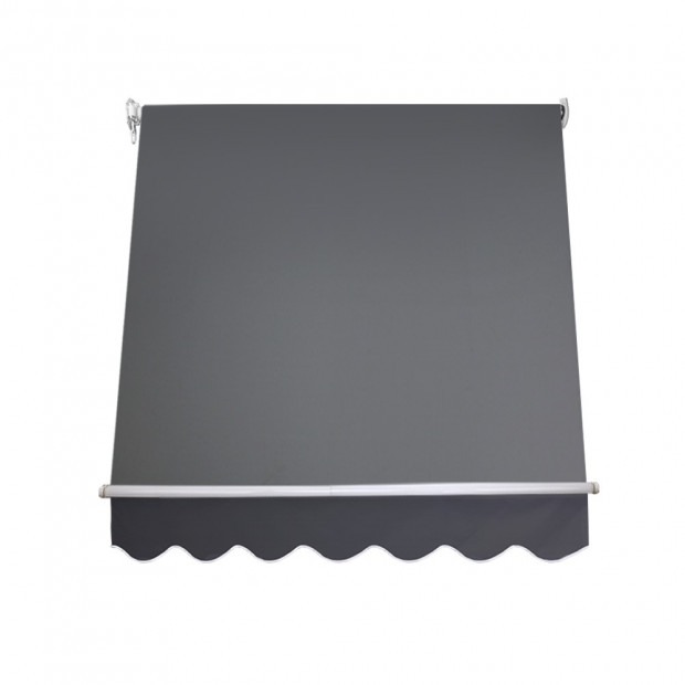 1.5m x 2.1m Retractable Fixed Pivot Arm Awning - Grey Image 2