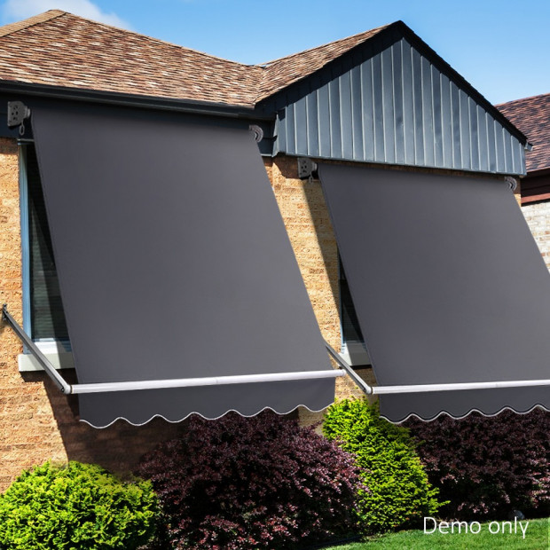 1.5m x 2.1m Retractable Fixed Pivot Arm Awning - Grey Image 9