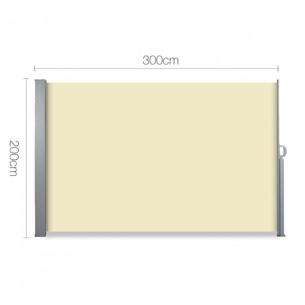 Instahut Retractable Side Awning Shade 2 x 3m - Beige Image 1