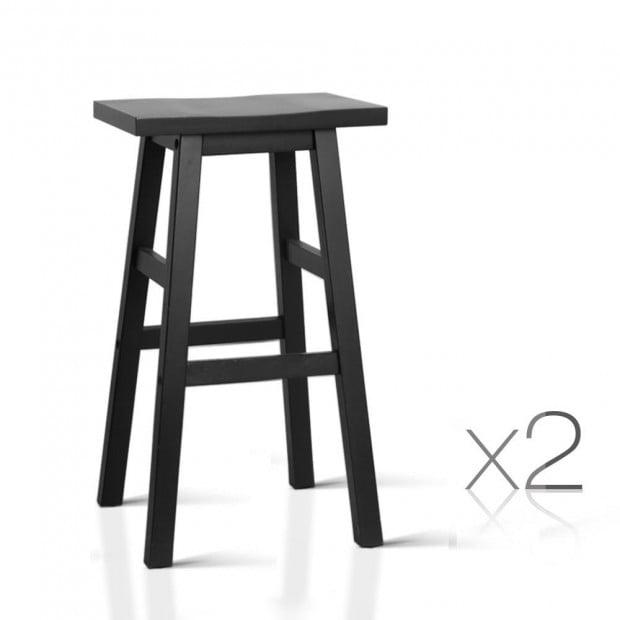 Set of 2 Wooden Back less Bar Stool - Black Image 1