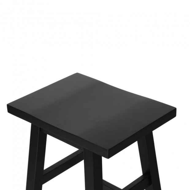 Set of 2 Wooden Back less Bar Stool - Black Image 3