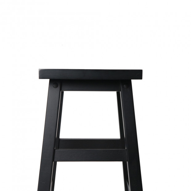 Set of 2 Wooden Back less Bar Stool - Black Image 5