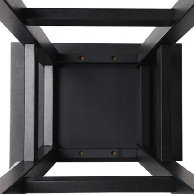 Set of 2 Wooden Back less Bar Stool - Black Image 6