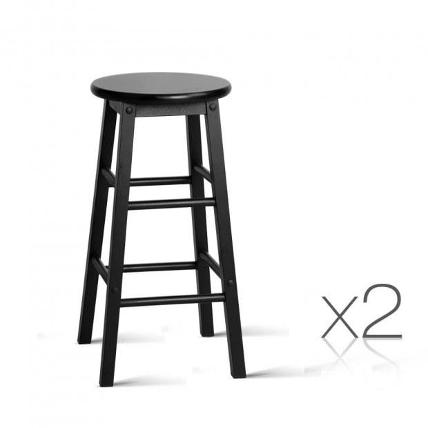 Set of 2 Beech Wood Backless Bar Stool - Black Image 1