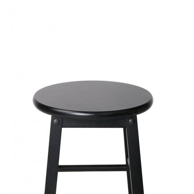 Set of 2 Beech Wood Backless Bar Stool - Black Image 3