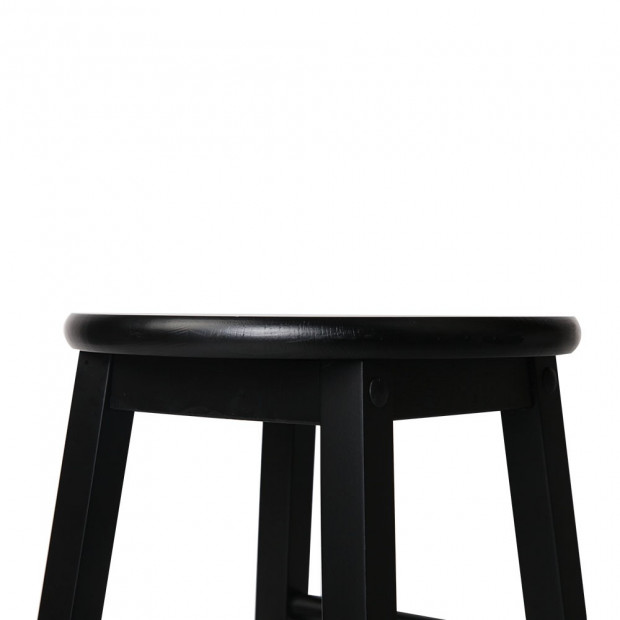 Set of 2 Beech Wood Backless Bar Stool - Black Image 5