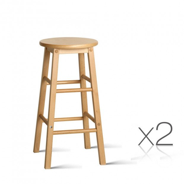 Set of 2 Beech Wood Backless Stool - Natural