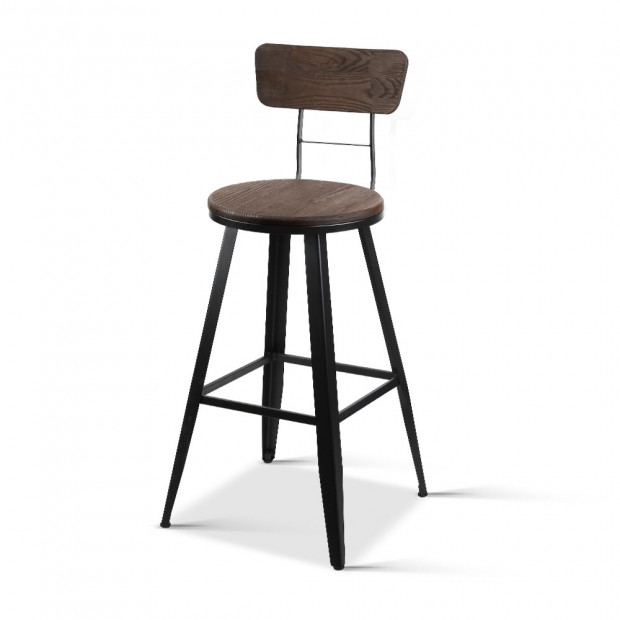 Artiss Industrial Swivel Bar Stool - Black IND5625