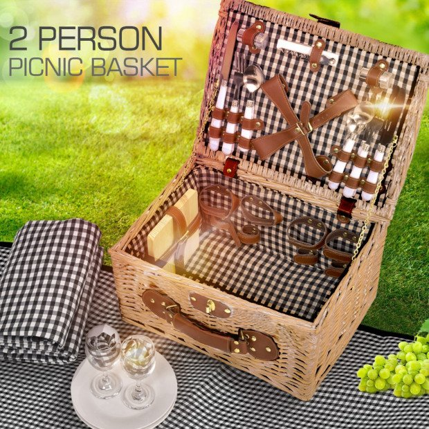 Deluxe 2 Person Picnic Basket Set Outdoor Blanket Park Trip