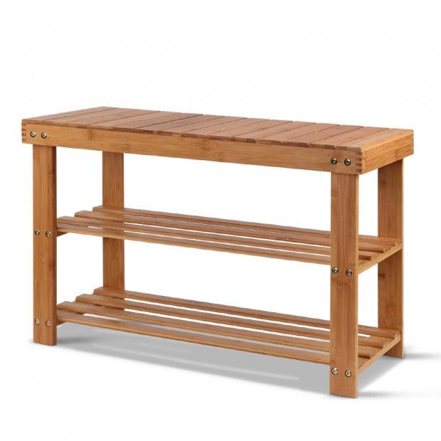 Bamboo Shoe Rack Wooden Seat Bench Organiser Shelf Stool
