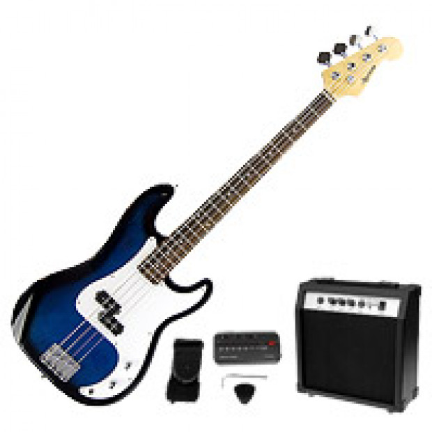 Karrera Electric Bass Guitar and Amp - Blue
