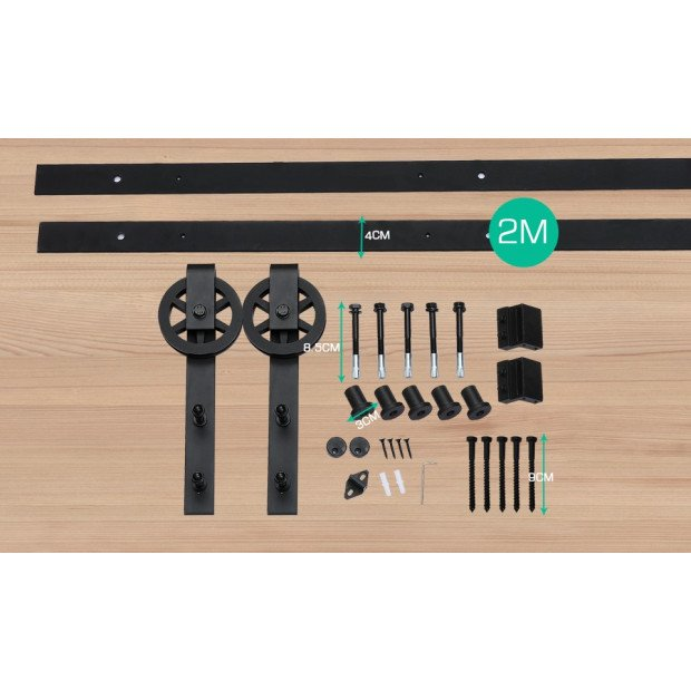 2.44m  Classic Sliding Barn Single Door Track Kit Image 1
