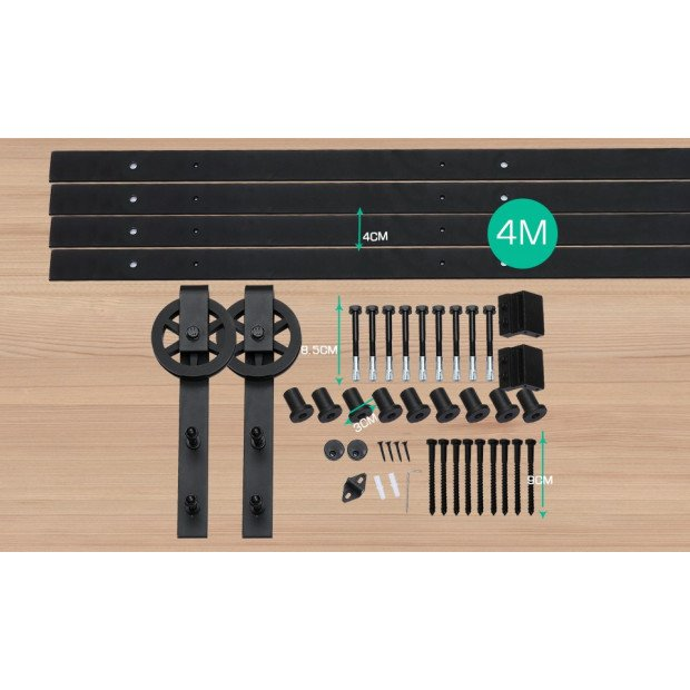 2.44m  Classic Sliding Barn Single Door Track Kit Image 5