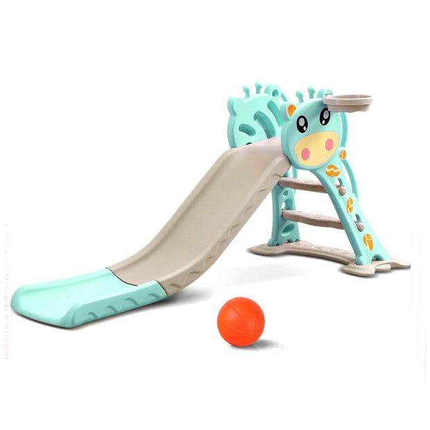 BoPeep Kids Slide Outdoor Basketball Ring Activity PlaySet Green