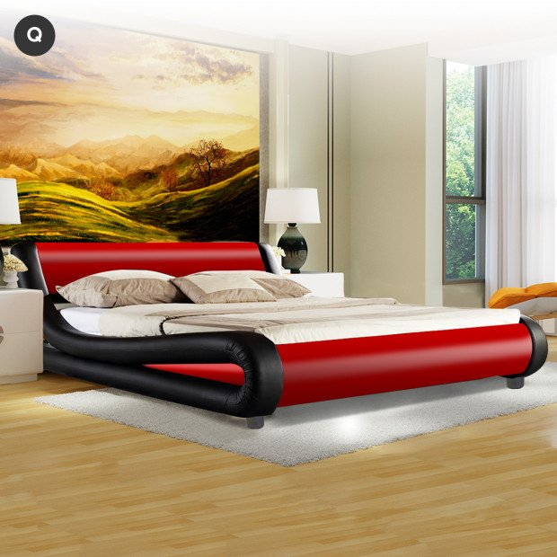 Queen Size Faux Leather Curved Bed Frame - Red Image 2