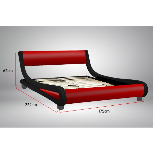 Queen Size Faux Leather Curved Bed Frame - Red Image 3