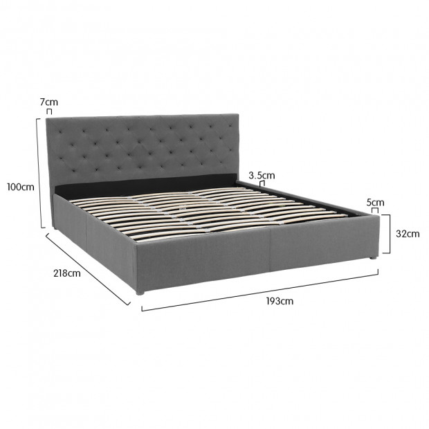 King Fabric Gas Lift Bed Frame with Headboard - Dark Grey Image 9