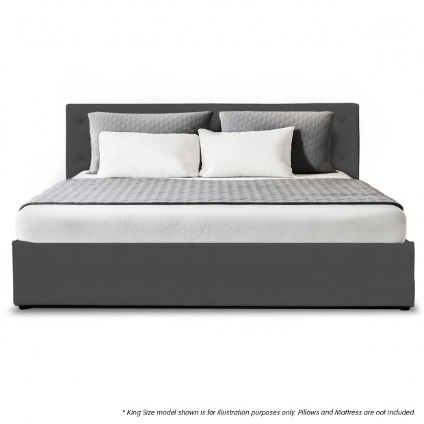 King Fabric Gas Lift Bed Frame with Headboard - Dark Grey Image 3